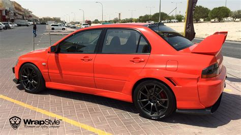 mitsubishi evo red wrapstyle premium car wrap car dubai chrome
