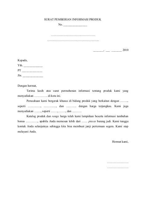 2 surat pemberian informasi produk