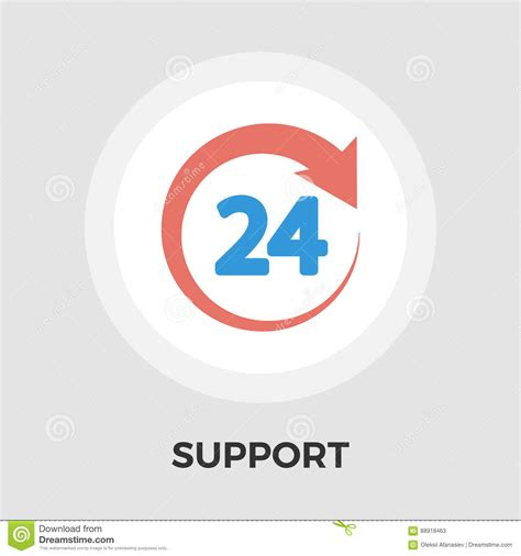 Eps Format Support | support 24 hours flat icon stock vector image 88918463