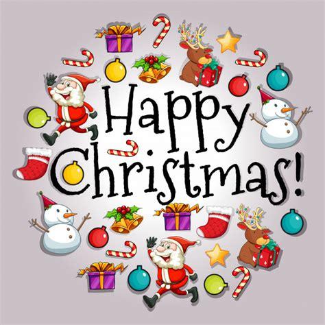 imagenes para merry christmas tarjeta de feliz navidad con santa y objetos descargar