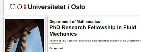 research papers on fluid mechanics of oslo phd research fellowship in fluid armacad