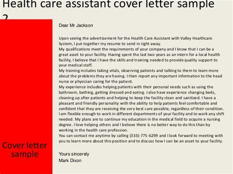 covering letter for health care assistant health care assistant cover letter