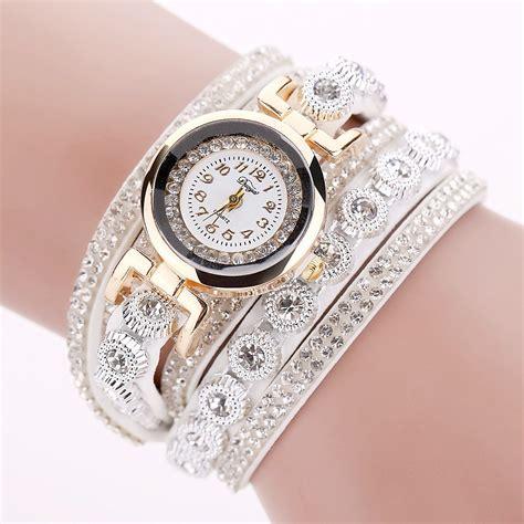 Jan Tangan Wanita jam tangan wanita model gelang rhinestone dy038 white