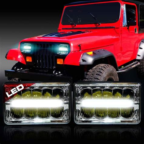jeep headlights at 2x led headlight headl upgrade for jeep wrangler yj