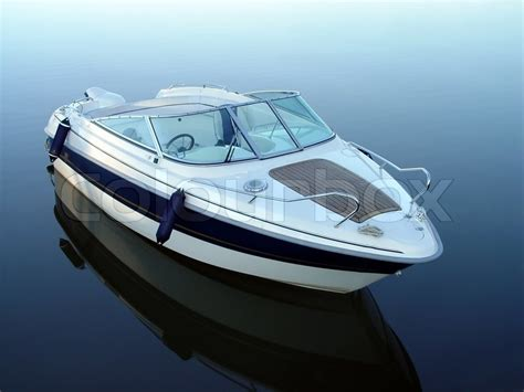 small boat motors small motor boat on quiet water stock photo colourbox