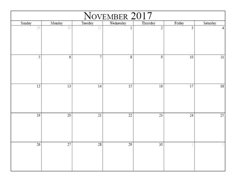 November 2017 Printable Calendar Template november 2017 calendar printable with holidays weekly