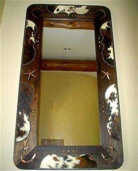 Cowhide Mirror - rustic western wood cowhide entryway length mirror