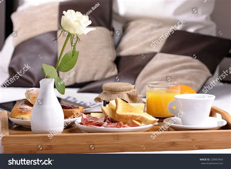 using food in the bedroom breakfast food on bed inside bedroom stock photo 228007843
