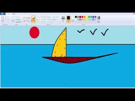 how to draw a boat in ms paint how to draw a boat simple creat on ms paint youtube