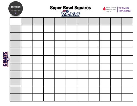 template for bowl squares football pool with 100 squares new calendar template site
