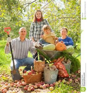 happy family in vegetable garden stock photo image 46801501