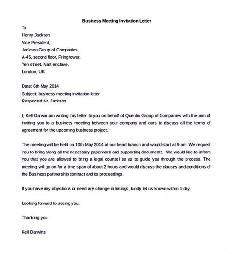 Invitation Letter High Level Meeting 38 Business Letter Template Options Which Format To Use