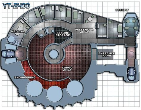 spaceship floor plan yt 2400 plan jpg 720 215 565 star wars rpg ships vehicles
