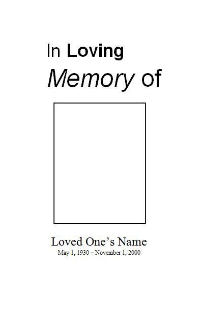 free funeral program template for microsoft word free