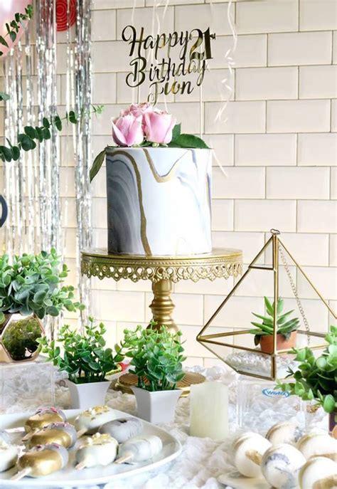 karas party ideas elegant marble inspired st birthday