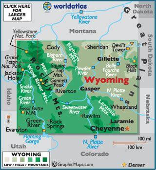 wyoming map / geography of wyoming / map of wyoming