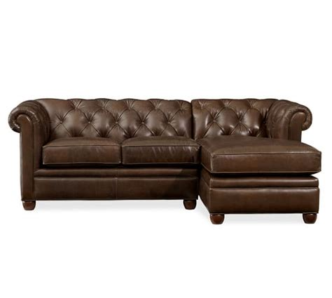 Chesterfield Leather Sofa With Chaise Sectional Pottery Barn Leather Chaise Sofa