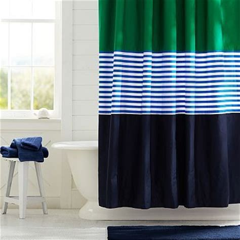 Navy And Green Curtains Colorblock Shower Curtain Navy Green Pbteen Cus Crossings Pinterest Kid Boys And