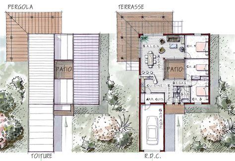 Plan Maison Carrée 4378 by Maison D Architecte Avec Patio Int 233 Rieur Ventana