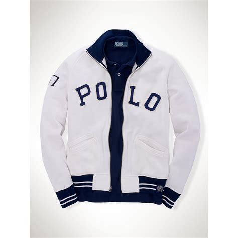 Jaket Basball Merah Putih Polos 1 polo ralph fleece baseball jacket in white for lyst