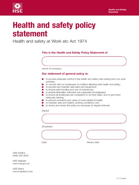 health and safety forms templates health and safety policy template 2 free templates in