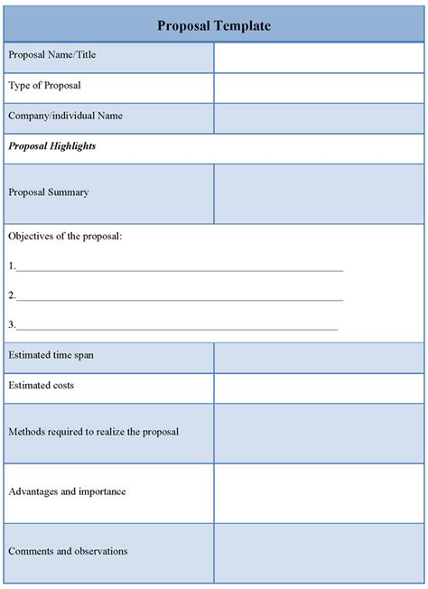 proposal template sle sle of proposal template