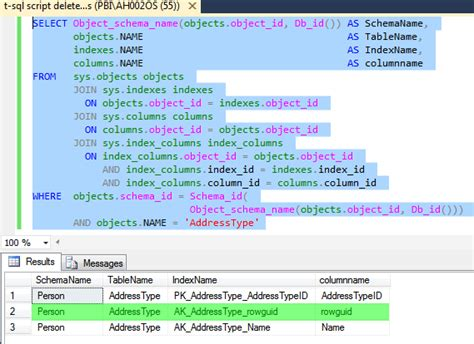 2 t sql script delete column