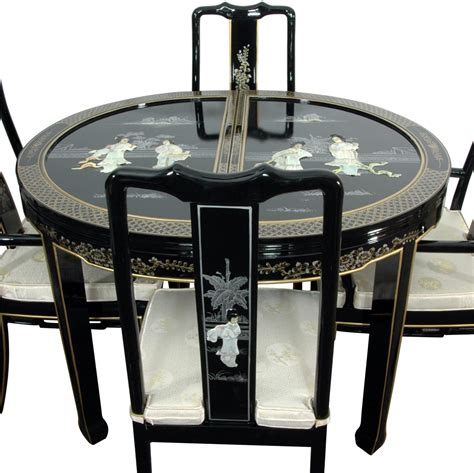 oriental dining room set lacquer dining room set black mother of pearl