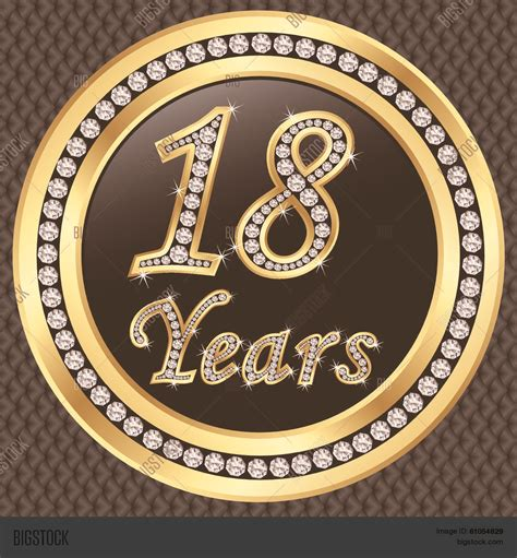 Big 18 Years 18 years anniversary golden happy vector photo bigstock