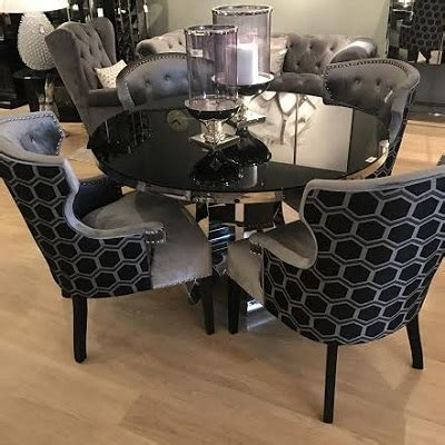 Black Marble Dining Table And Chairs Serge Living Venice Marble Dining Table With 6 Chairs 3 Colours