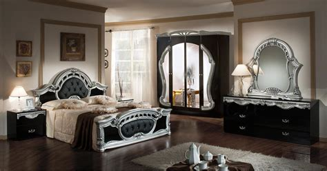 modrest rococco italian classic black silver bedroom set