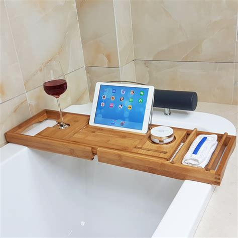 expandable bathtub caddy honana bx 816 expandable bamboo bath caddy wine glass