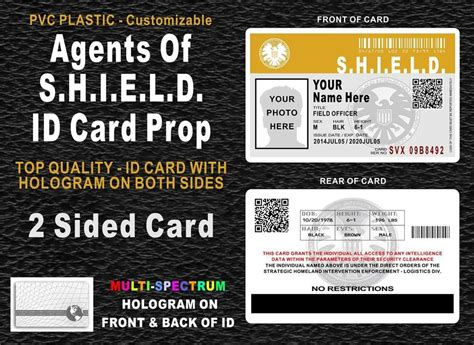 of shield id card template agents of shield id badge card prop customizable