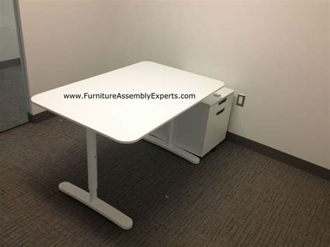 Office Desk Assembly Ikea Bekant Office Desk And Galant File Cabinets Assembled