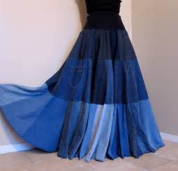 Blue tides long patchwork denim skirt ooak by barefootmodiste