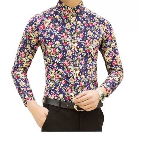 floral pattern shirt mens hcxy 2017 new fashion spring mens flower shirts casual