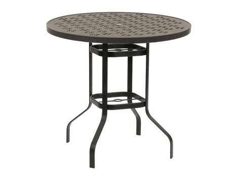 bistro table with umbrella hole suncoast patterned square aluminum 36 square bar height