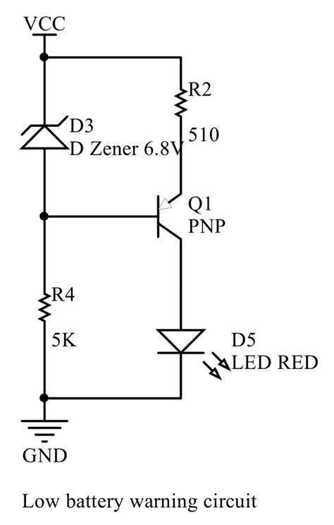 diode electric circuit power supply confused about battery voltage warning circuit with pnp transistor and zener