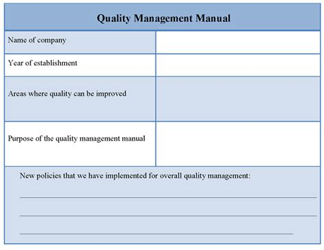 quality manual template free quality form templates search engine