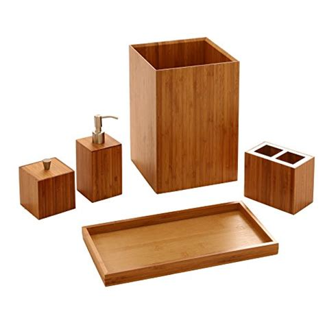 bamboo bathroom accessories set seville classics 5 piece bamboo bath and vanity luxury