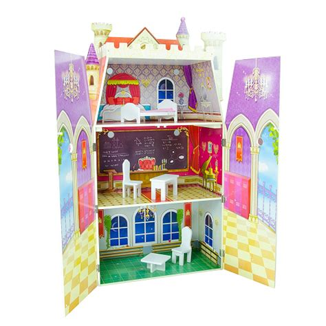 12 inch doll house teamson kids fancy castle wooden doll house with 5 pcs furniture for 12 inch dolls