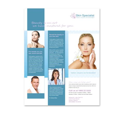 Free Skin Care Flyer Templates Free Skin Care Brochure Templates Skin Specialist Centre Flyer Free Skin Care Brochure Templates