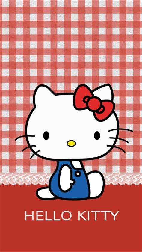 hello kitty apple wallpaper hello kitty with plaid fabric background wallpaper free