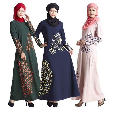Printing Dress By Fasha Supplier Busana Muslim aliexpress buy malaysia muslim dress abaya turkey islamic feather print dresses