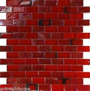 Red Glass Tile Kitchen Backsplash 1sf red iridescent glass mosaic tile kitchen backsplash floor shower