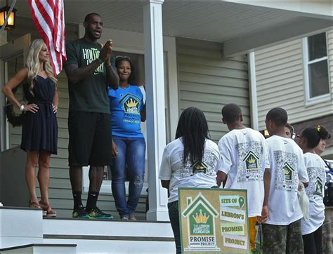 lebron james cleveland house nba star lebron james tours renovated home of akron family shoots baskets with kids