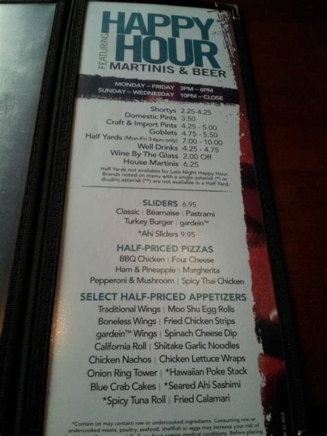 yard house menu roseville ca 95678 yard house restaurant