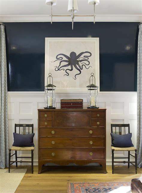 navy blue coastal bedroom design with glossy navy blue octopus art transitional entrance foyer phoebe howard