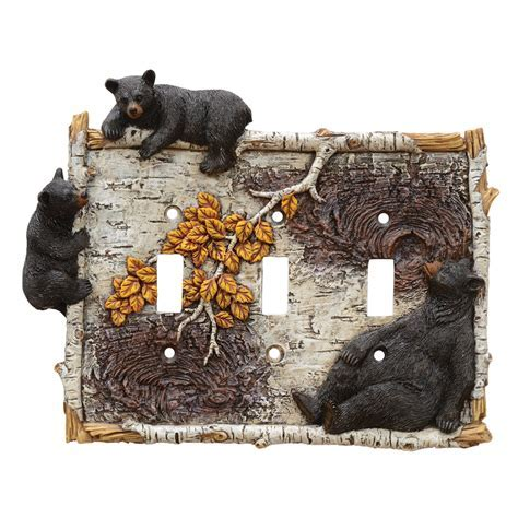 Black Bear & Branch Triple Switch Cover   OUT OF STOCK