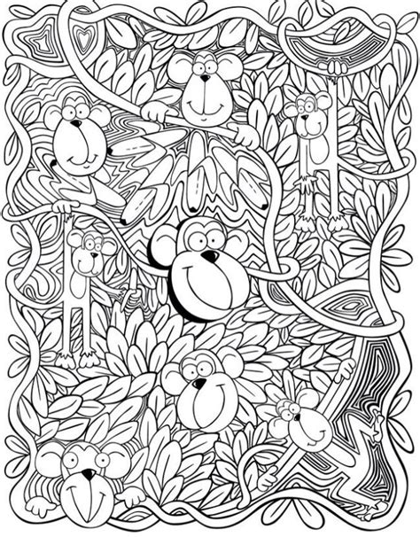 monkey coloring pages for adults 40 best kleurplaten images on pinterest coloring books